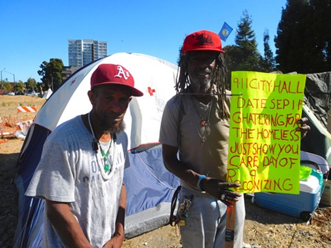 Nino Parker (right) said homeless residents around Lake Merritt plan to protest the camping ban.