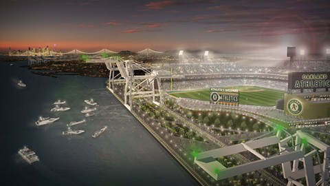 A rendering of the proposed new A's ballpark at the Howard Terminal site, which is located amid port cranes and warehouses. - IMAGE COURTESY OF MANICA ARCHITECTURE