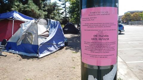 Oakland closed this Lake Merritt homeless encampment recently. - PHOTO BY DARWIN BONDGRAHAM