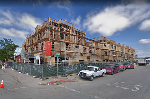 "The ""Ice House"" project in April 2018, when Oakland firefighters warned the construction site lacked adequate security. - GOOGLE MAPS"