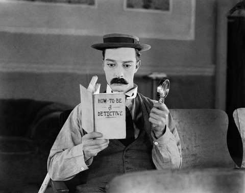 Buster Keaton is a homemade sleuth in Sherlock Jr.