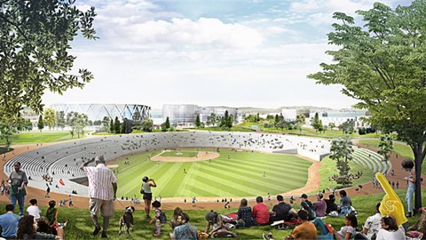 Plans for the redeveloped Coliseum site call for a scaled down stadium as part of a community park. - BJARKE INGELS GROUP