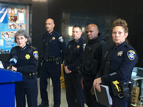 Oakland Police Chief Anne Kirkpatrick and command staff at today's press conference.