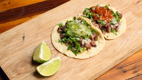 The tacos lengua (left) and cabeza. - PHOTO BY LANCE YAMAMOTO