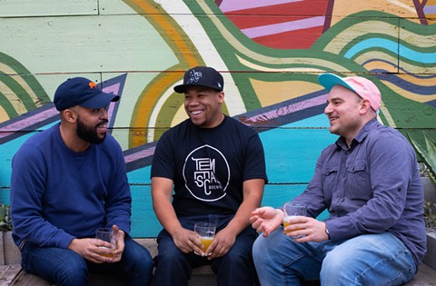 L-R: Seneca Scott of Oakhella and Joshua Diggs and Sam Gilbert of Temescal Brewing. - PHOTO BY ALEX MILLER