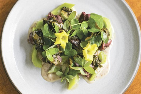 Grilled chicken livers with wood sorrel and sesame. - PHOTO COURTESY OF ISABEL BAER