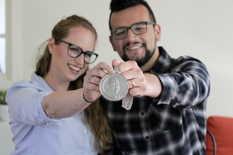 Katy and Ricardo Osuna with the James Beard Award. - PHOTO COURTESY OF COPPER & HEAT