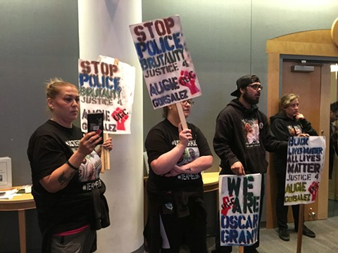 Friends of family of Agustin Gonsalez calling for an independent investigation of Hayward Police during a Hayward City Council Tuesday night. - STEVEN TAVARES