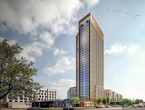 A rendering of the 33-story tower proposed as part of the 1,000-unit 500 Kirkham Street project near the West Oakland BART station.