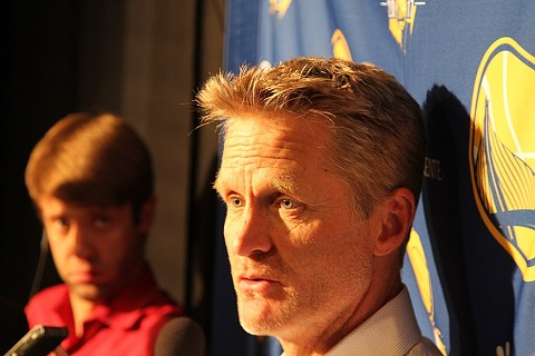 Warriors coach Steve Kerr was criticized Wednesday by President Trump for not answering questions about the NBA's controversy with China. - WIKIMEDIA COMMONS