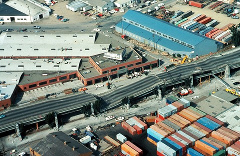 Aerial view of a section of the Cypress Freeway in Oakland that collapsed following the Loma Prieta earthquake on this day in 1989. - WIKIMEDIA COMMONS