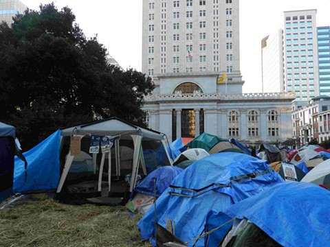 The sight of tents at Frank Ogawa Plaza over the weekend evokes memories of the Occupy Oakland protests in 2011. - WIKIMEDIA COMMONS