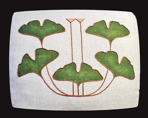 5-Leaf Ginko pillow from the studio of Dianne Ayers.