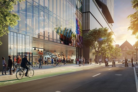 A rendering of the now cancelled Kaiser Permanente headquarters in Oakland. - KAISER PERMANENTE