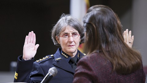 Former Oakland Chief of Police Anne Kirkpatrick being sworn in. - FILE PHOTO