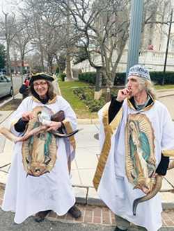 BELIEVERS: Anne Armstrogn and Alan Gordon, leaders of The Healing Church, a cannabis-based Christian sect located in Rhode Island. - PHOTO BY JULIAN BORGER/THE GUARDIAN