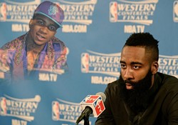 A meme featuring Lil B haunting James Harden of the Houston Rockets.
