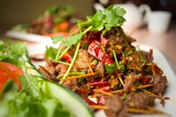 "Cumin-spiced ""toothpick lamb"" at Chengdu Style. - CHRIS DUFFEY / FILE PHOTO"