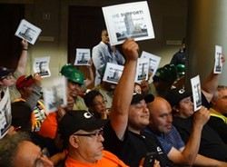 Members of the Carpenters Union and the Cypress Mandela Training Center supported the land sale. - DARWIN BONDGRAHAM