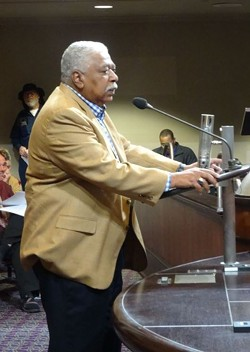 Gregory McConnell of the McConnell Group speaking at a recent Oakland City Council meeting. - DARWIN BONDGRAHAM