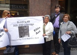 Leticia Morales (center) and Martiza Osorio (right), residents of 300 Coleridge, are facing eviction after an investor bought their building with a loan from First Republic Bank. - DARWIN BONDGRAHAM