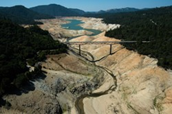 The record-low snowpack in the Sierra has had a devastating impact on major state reservoirs, including  Lake Oroville. - CALIFORNIA DEPARTMENT OF WATER RESOURCES
