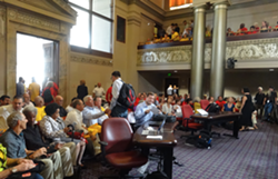 Oakland city council chambers are packed for today's hearing on coal. - DARWIN BONDGRAHAM