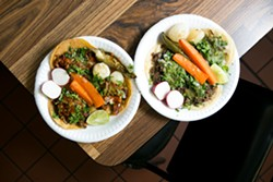Los Mexicanos Deli serves both standard and al vapor-style (top) tacos. - BERT JOHNSON
