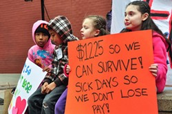 Children at a campaign rally for Oakland's minimum wage initiative in 2014. - BROOKE ANDERSON / FILE PHOTO