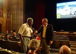 James Vann of the Oakland Tenants Union (left) and Victor Dover of Dover Kohl. - DARWIN BONDGRAHAM
