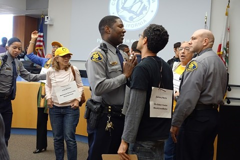 """A """"Jobs Not Jail"""" protest at the Alameda County Board of Supervisors earlier this year. - COURTESY OF ELLA BAKER CENTER"""