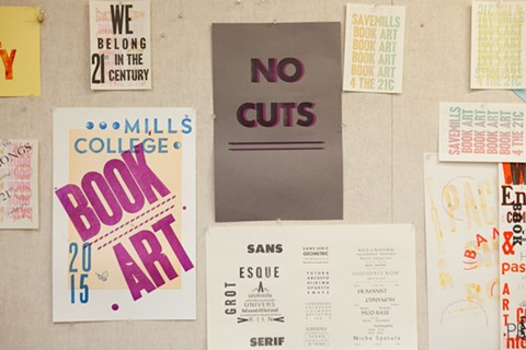 Book art students protest the school's proposal to eliminate the program. - BERT JOHNSON