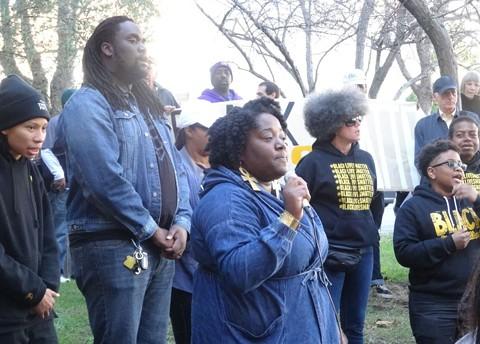 Members of the Black Friday 14 outside DA O'Malley's office today. - DARWIN BONDGRAHAM