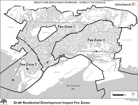 Oakland's planning staff have proposed three different zones where developers would be charged different affordable housing fees. - CITY OF OAKLAND