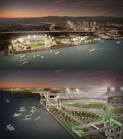 Artist's renderings of a proposed A's ballpark at Howard Terminal.
