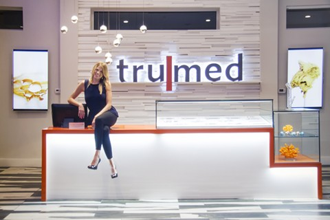 Megan Stone and the TruMed extract bar. - THE HIGH ROAD DESIGN
