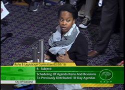 Carol Fife of the Oakland Alliance wants the city to enact a moratorium on rent increases and no-fault evictions.