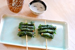 Miso rolls wrapped in shiso. - PHOTO BY YOKO KUMANO