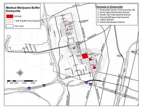 Emeryville could permit one dispensary outside state-mandated buffers from its schools. - EMERYVILLE