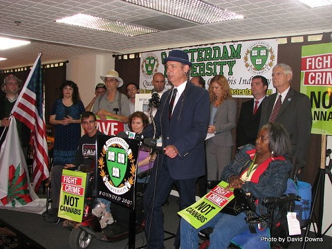 HHC operator Stephen DeAngelo and supporters speak at a protest against the forfeiture of Harborside's leased properties (July, 2012) - DAVID DOWNS