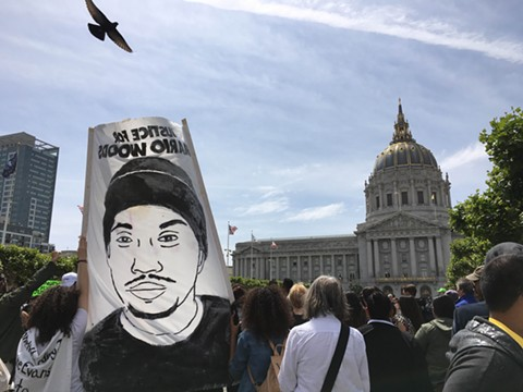 On Tuesday afternoon, demonstrators arrived at San Francisco City Hall to protest police brutality. - NASTIA VOYNOVSKAYA