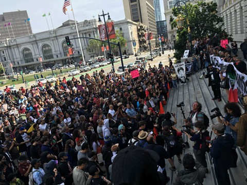The crowed gathered outside of San Francisco City Hall in solidarity with the Frisco 5. - NASTIA VOYNOVSKAYA