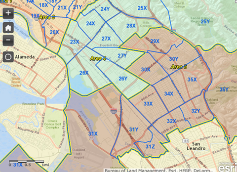 This map of Oakland police beats would help pick winners in the Oakland pot trade. - OPD