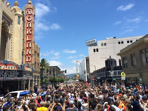 Bill Clinton block party out front of the Fox Theater this past Monday. - PHOTO BY NICK MILLER