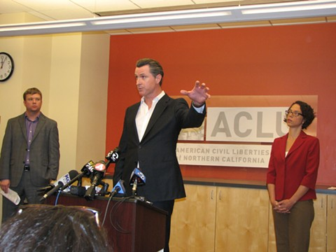 Gavin Newsom speaks during the 2013 launch of the ACLU's Blue Ribbon Commission on Marijuana. - DAVID DOWNS