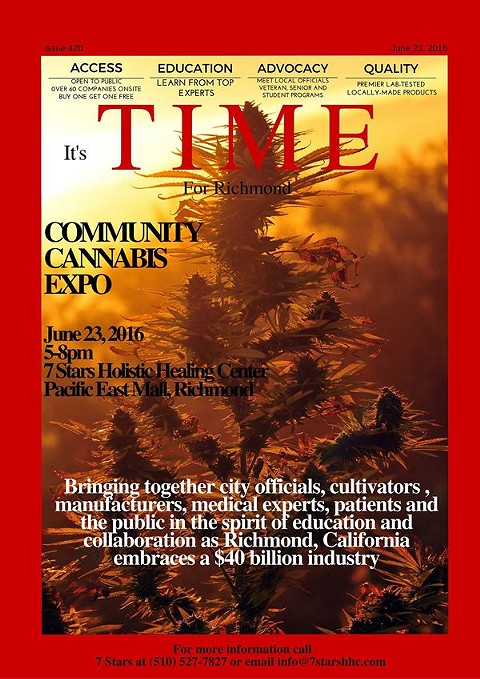 A flyer for a Richmond cannabis industry event. - 7 STARS ON FACEBOOK