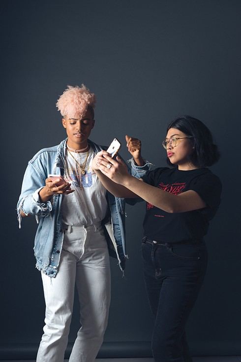Azha Luckman (L) and Apryl Fuentes of Best Tumblr winner, Shade Magazine. - PHOTO BY LANCE YAMAMOTO