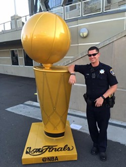 Deceased Oakland Police Officer Brendan O'Brien outside Oracle Arena.