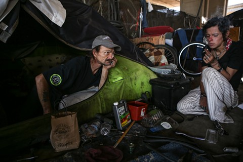 Homeless camper Jeffery Hill said Caltrans has trashed his belongings three times. - JOEL ANGEL JUAREZ