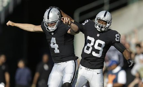 """Derek Carr (left) and Amari Cooper, """"AC/DC,"""" hope to put the Silver and Black back in first this year. - PHOTO COURTESY OF BLEACHER REPORT"""